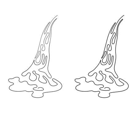 Stream of water, waterfall, flowing water. Simple line drawing. Vector illustration