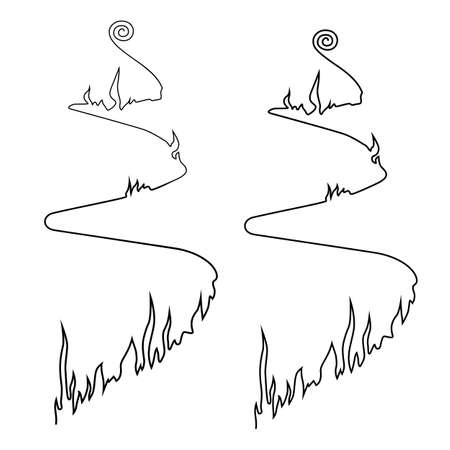 Path of fire. Simple line drawing. Vector illustration