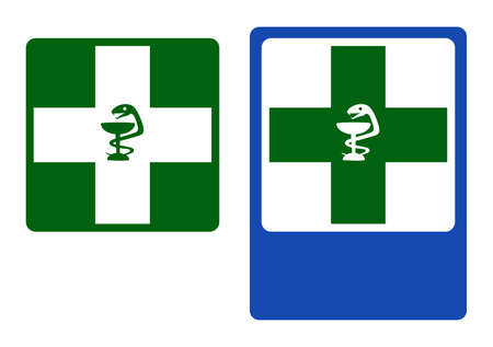 Road and Pharmacy information signs. Vector illustration.