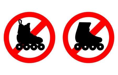 Sign prohibits entry and roller skating. Silhouette on a crossed round background. Warning. Vector illustration.
