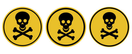 Danger attention sign. Warning. Human skull and bones on a round background. Vector illustration. Illustration