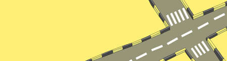 Crossroads with pedestrian crossings. View from above. Humorous illustration Standard-Bild