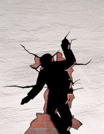 Man in a jump breaks through a brick plaster wall with his body. Despair. Find the way out. Illustration