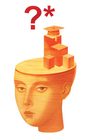 Educational issues. Humanitarians versus techies. Girl with symbols academic cap jurisprudence in her head. Wood sculpture texture