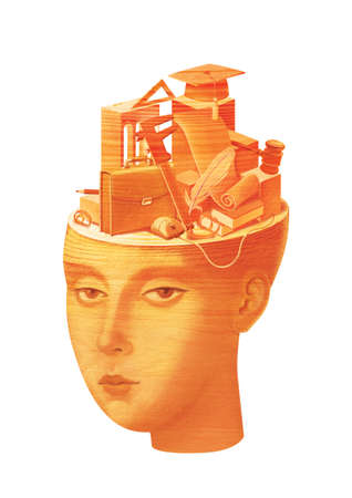 Educational issues. Humanitarians versus techies. Girl with symbols of design and jurisprudence in her head. Wood sculpture texture