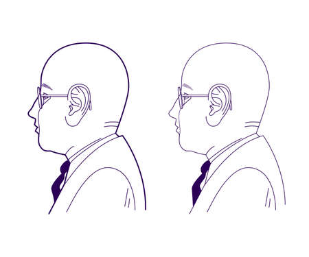 Profile of a bald man in glasses and a suit with a tie. Office worker. Linear drawing, vector illustration