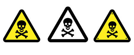 Danger attention sign. Warning. Human skull and bones on a triangular background, illustration.