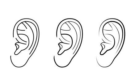 Human left ear set, simple linear drawing, illustration