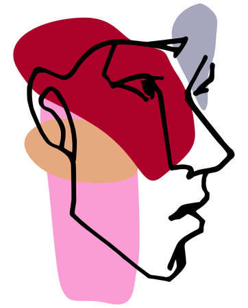One line drawing face. Modern single line art contour portrait, contour. Illustration Standard-Bild