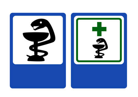 Road and Pharmacy information signs. Illustration.