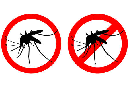 Humor sign attention mosquito. Prohibited. Illustration.