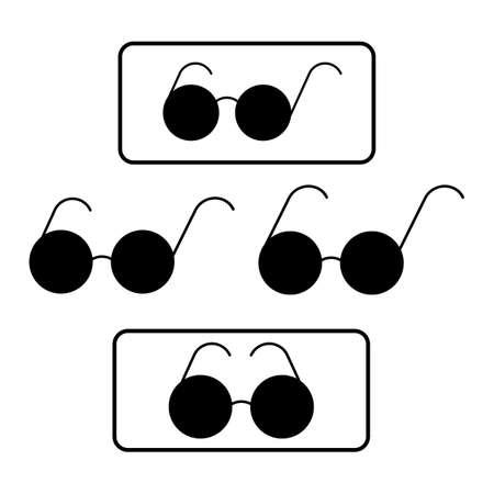 Black round glasses silhouette. Blind pedestrian sign. Illustration. Standard-Bild