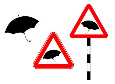 Caution rain slippery road. Silhouette sign. Illustration. Humor. Road sign umbrella in red triangle Standard-Bild