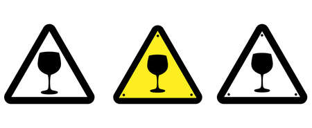 Glass attention sign. Warning. Wine glass on a triangular background, illustration.