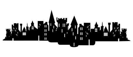 Old ruined knight's castle. Silhouette vector illustration. Isolated on white background. destructible tower