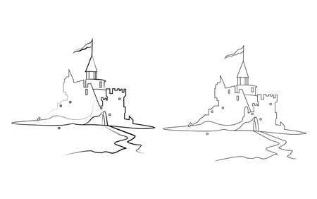 Old ruined knight's castle. Line vector illustration. Isolated on white background.