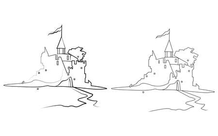 Old ruined knight's castle. Line vector illustration. Isolated on white background. Vettoriali