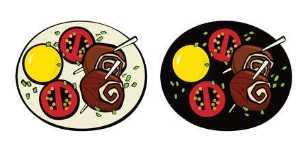 Meatloaf on a wooden skewer, potato and tomatoes. Pop art. Retro style. Illustration Standard-Bild
