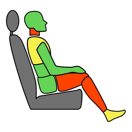 Template figure man sitting in a car passenger. Crash test. Sign. Profile view illustration