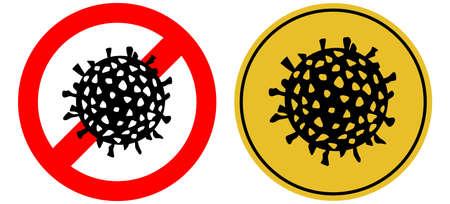 Danger attention sign viral danger. Warning. Virus on a round background, illustration.