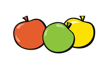 Green, red and yellow apples. Pop-art. Retro style. Illustration Standard-Bild