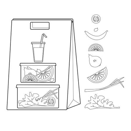 Craft bag with a business lunch. Vegetarian food. Fruits and vegetables in containers. Line drawing illustration