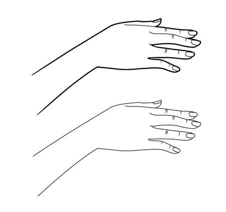 Gestures. Graceful hand of a woman. Graphic line drawing illustration.