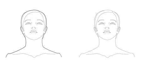 Bottom view of woman's face and neck template. Medicine and cosmetology scheme. Graphic line drawing illustration. Stock fotó