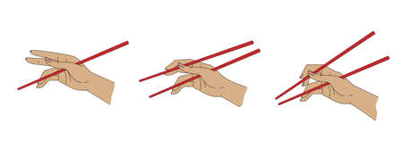 How to use chopsticks, simple illustration guide Stock fotó