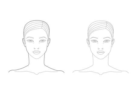 Template of the face and neck of a woman in the front. Medicine and cosmetology scheme. Graphic line drawing illustration.