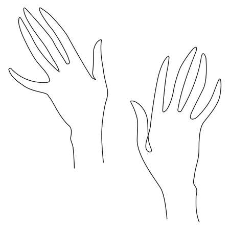 Woman's hand gestures. One line drawing. Vector illustration. Grace and mannerism