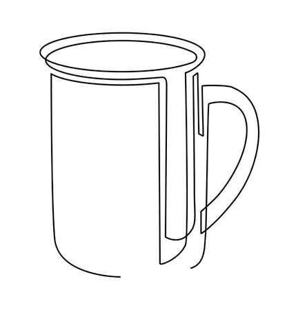 Tea mug. One line drawing. Vector illustration. Illusztráció