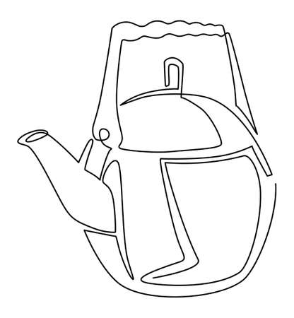 Round shiny teapot. One line drawing. Vector illustration.