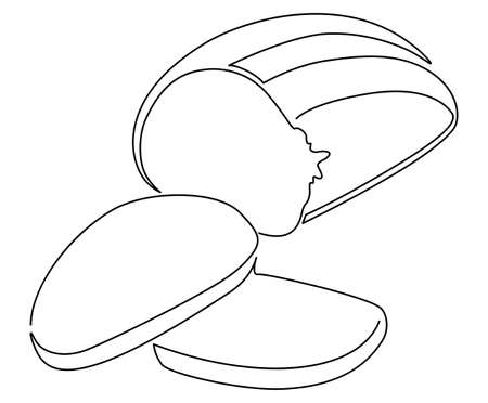 Sliced and bitten loaf of bread. One line drawing. Vector illustration.