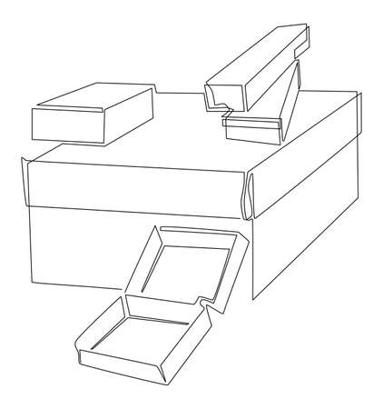 Set of boxes of different sizes. Stacked open and closed boxes. One line drawing. Vector illustration.