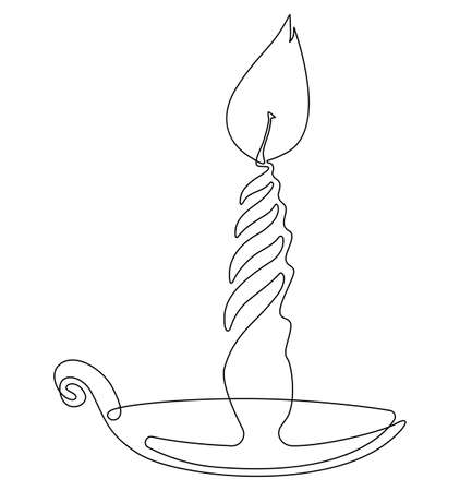Twisted candle burns. One line drawing. Vector illustration.