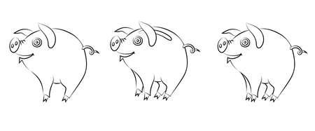 Cheerful piggy bank. Line drawing illustration. Stock fotó