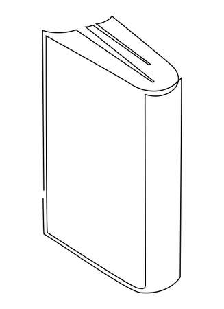 An upright book. One line drawing illustration.