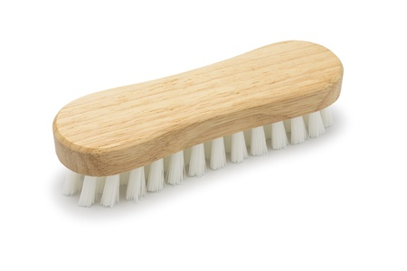 Wooden household brush isolated on white background Stock Photo