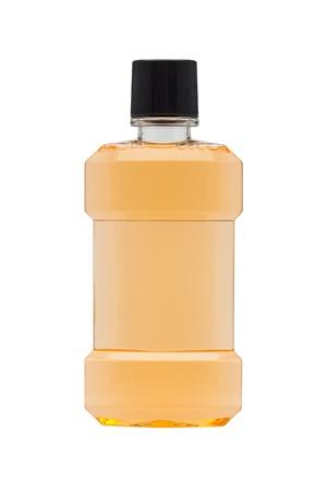 antiseptic: Plastic bottle of mint orange mouthwash isolated on white background