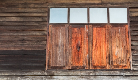 Old wooden window in Si Sa Ket, Thailand