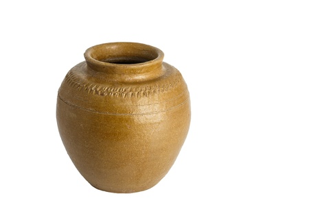 Clay jar for store pickled fish or alcohol of the North-East people in Thailand photo