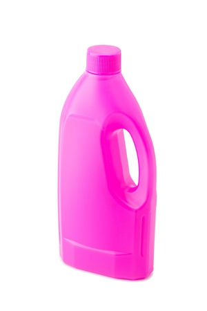 Pink plastic bleach bottle isolated on white background Stock Photo - 17999206