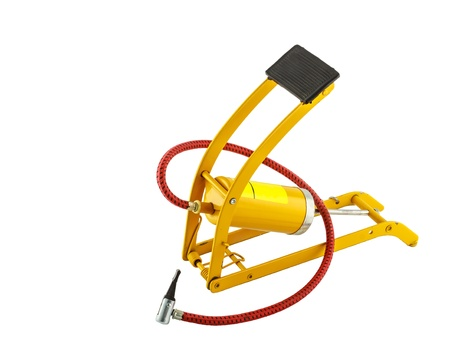 power operated: Yellow foot air pump isolated on white background