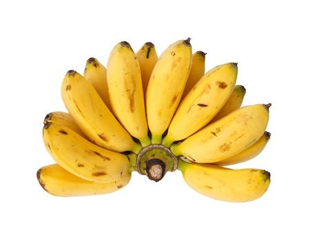banane: Bouquet de banane b�b� isol� sur fond blanc Banque d'images