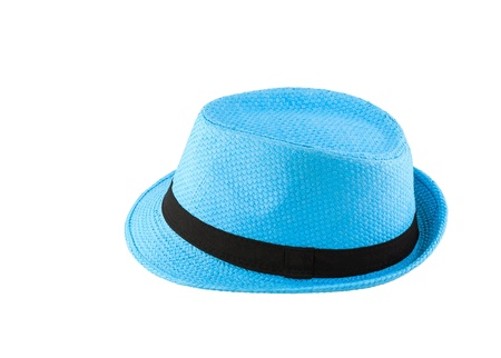 Blue woven hat isolated on white background photo