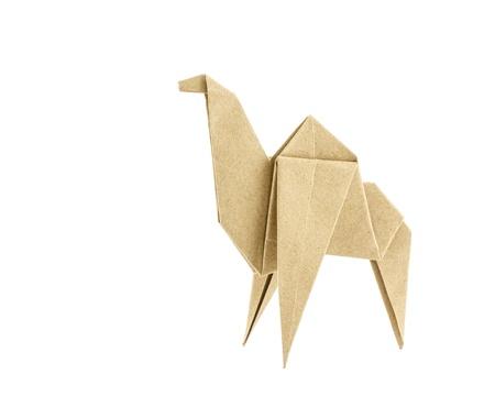 camello: Papel reciclado camello Origami aislado en fondo blanco