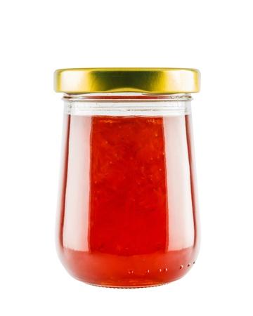 strawberry jam: Strawberry marmalade jam in glass jar isolated on white background