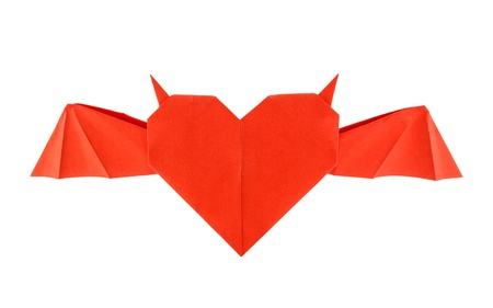 Origami horned heart isolated on white background photo