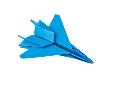 Origami F-15 Eagle Jet Fighter airplane isolated on white background Фото со стока